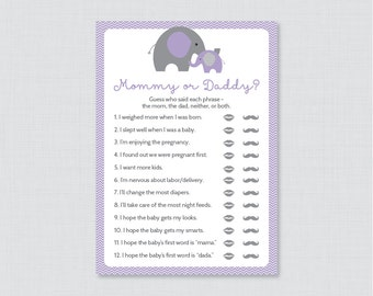 Elephant Mommy Or Daddy Baby Shower Quiz   Baby Shower He Said She Said Game