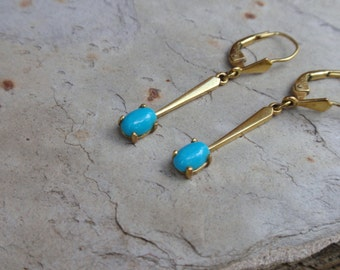 Gold Turquoise Earrings dangle drop dainty oval  10% OFF coupon in item detail