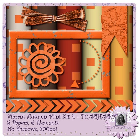 Vibrant Autumn 4 - a digital scrapbooking kit with 5 papers and 6 embellishments