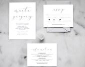 Printable Minimalist Wedding Invitation Set — Modern Minimalist Wedding Invitations, Calligraphy Wedding, Black and White Invitations