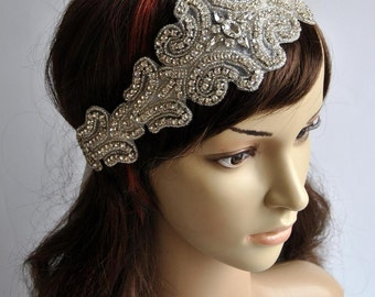 Luxury Rhinestone Headband, Bridal Headband, Wedding Headpiece, Flapper 1920s Ribbon tie on Bridal Headband,wedding bridesmaid headband