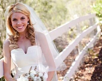 Wedding Elbow length Wedding Bridal tulle Veil white, ivory, Wedding veil bridal Veil Elbow length veil bridal veil cut veil Ready to ship