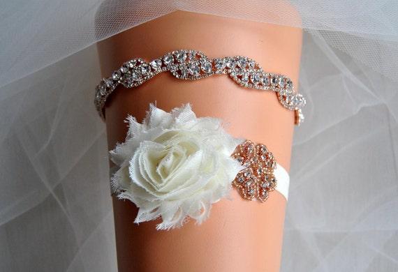 Rose Gold Bridal Crystal Wedding Garter Set Ivory Shabby Chic
