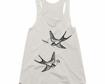 Birds Tank Top - Birds Top - Bird Tank - Bird Tshirt - Racerback Tank Top - Ladies Graphic Tank - by Bloom Bloom Wear