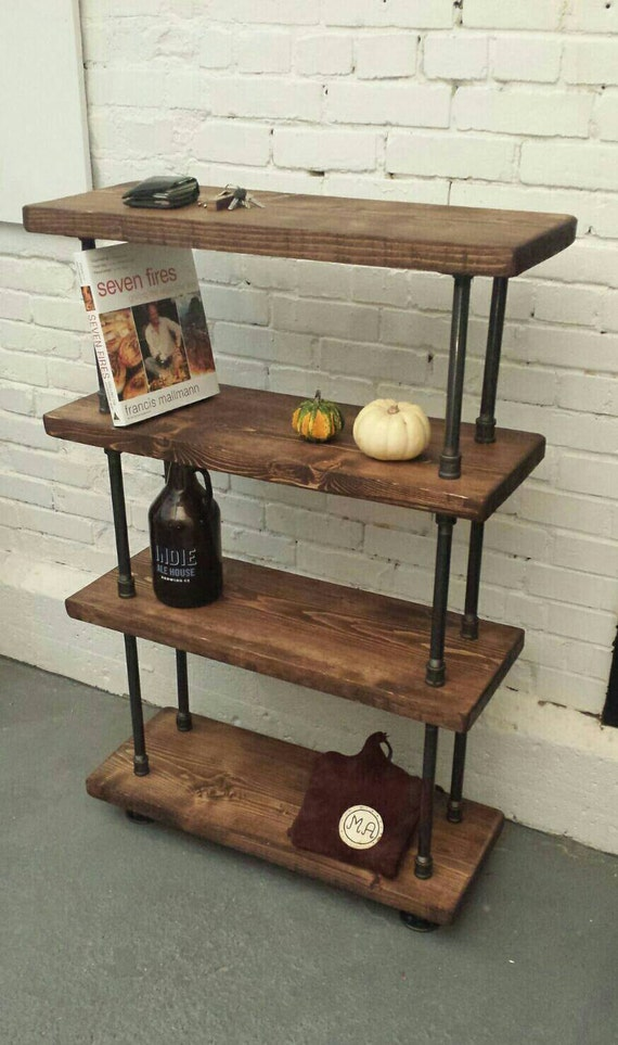 Rustic Industrial Pipe And Wood Bookcase Rustic Industrial