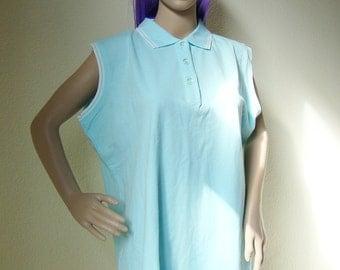 PALE BLUE POLO -dress, pastel, kawaii, cute, cyber, vaporwave, seapunk, aesthetics, tshirt, festival, aesthetic, extra large, sleeveless-