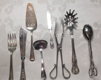 8 Pc. Retro Silver Utensils, Holiday Serving Set, Heirloom Silverware, Elegant Victorian Silver Service Wedding, Bridal or Baby Shower Party