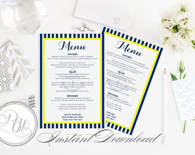 """Nautical Wedding Menu-INSTANT DOWNLOAD- Editable Text Only-Wedding Nautical Boat Anchor with Navy Stripe Yellow Design - """"Xena"""""""