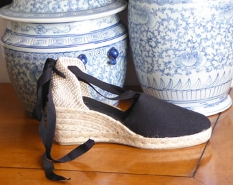 Lace up espadrille WEDGES - BLACK - mumishoes - made in spain