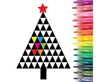 Modern geometric Christmas Tree instant download colouring page, printable Christmas tree, Christmas colouring page
