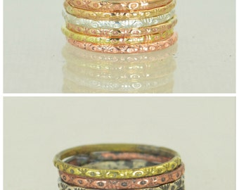 Bohemian Stacking Rings, BoHo Rings, Tribal Rings, Eye Stacking Ring, Rustic Ring, Sterling Ring, Brass Ring, Bronze Ring, Gold Ring-G1