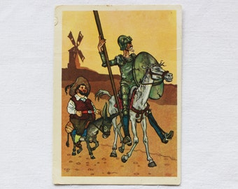 "Illustrator Valk Vintage Soviet Postcard ""Don Quixote"" Cervantes - 1957. Sovetskiy hudozhnik. Sancho, Men, Horse, Donkey, Knight, Road"