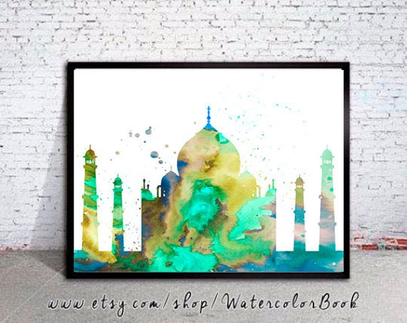 Taj Mahal India Watercolor Print, City Skyline, Art Print, watercolor print, watercolor poster, map poster, City watercolor, City art