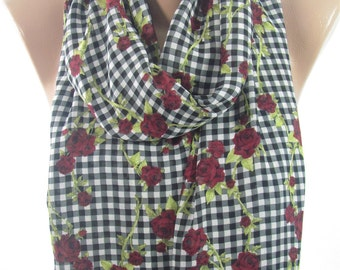 Plaid Scarf Floral Rose Scarf Infinity Scarf Valentines   Holiday Gift Gift for  Fashion Gift for Her Gift for Wife Teen B Holiday Gift