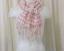 Open Weave Pink & White Stripe Neck Scarf, Muffler with Fringed Ends