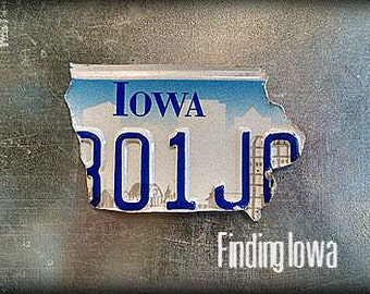 Iowa Shape License Plate State Magnets