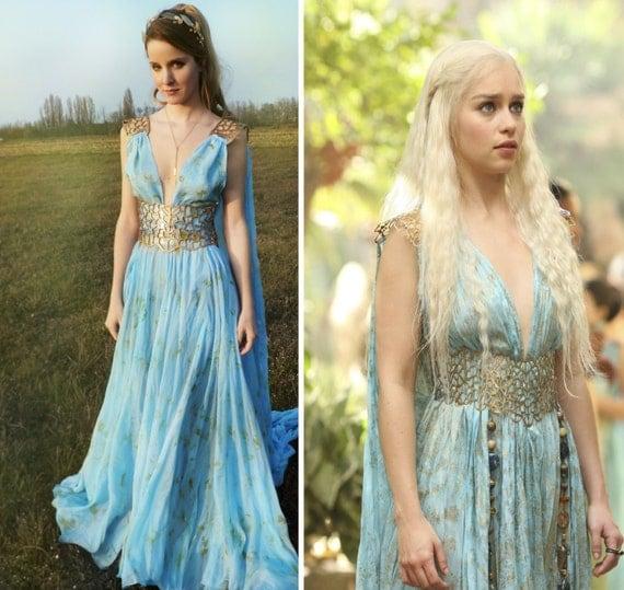 Daenerys Qarth Costume Blue Dress with Belt Throne  Daenerys Qarth ...