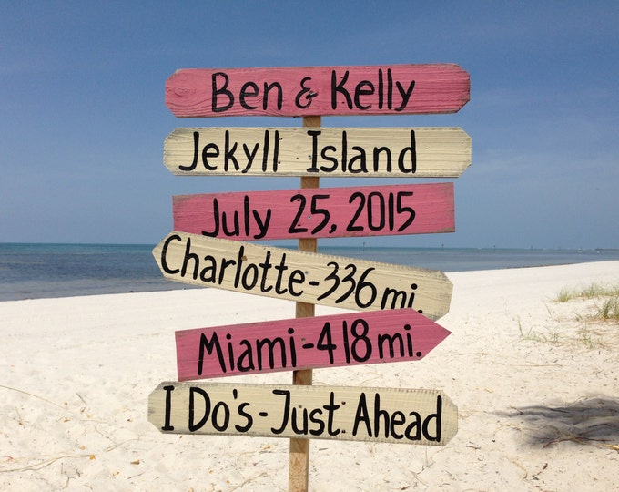 Coral Beach Wedding Decor, Directional Beach Sign, I Do's Ceremony Destination Family Name Signage, Wedding gift idea.