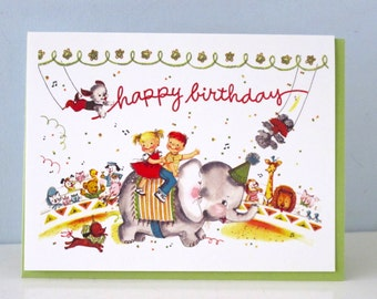 Happy Birthday Circus Vintage Style Greeting Card by writeables