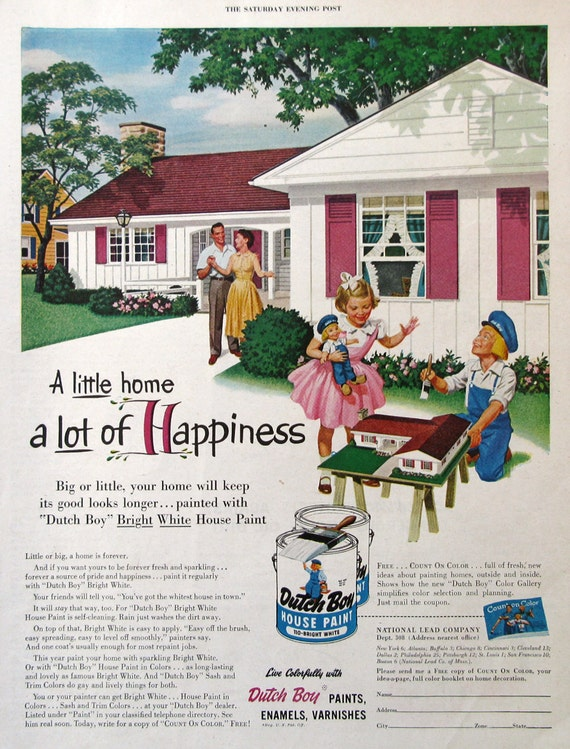 1954 dutch boy house paint ad 1950s midcentury ranch home for Ad house