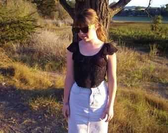 80's Vintage Sheer Black Lace Crop Top (Women's Size Medium)