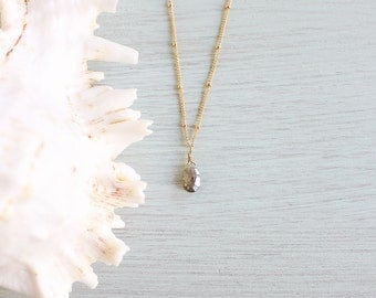 Tiny Mystic Labradorite Teardrop Necklace - Small Mystic Faceted Labradorite Necklace - Grey Labradorite Gemstone Necklace in Gold or Silver