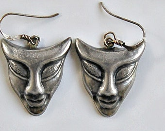 Unusual 70's edgy Modernist sterling smiling demon tribal dangles, clever abstract molded 925 silver funky goth punk devil mask earrings