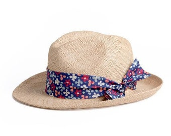 Straw hat for summer , Unisex Panama hat , decorated with a stunning ribbon , Gift for her.