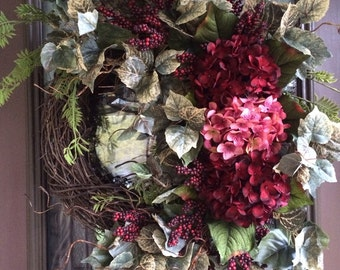 Spring Wreath, Hydrangea Wreath, Front Door Wreath, Red Wreath, Grapevine Wreath