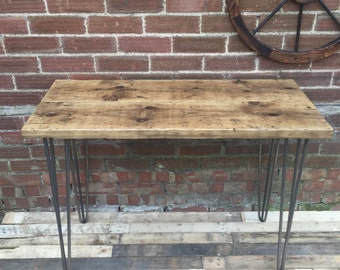 Industrial Style Design Rustic Scaffold Office Desk Side Table with Hairpin Legs