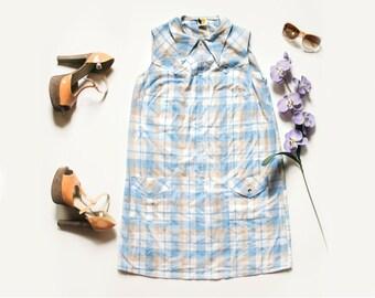 60s Blue Plaid Mod Dress | Plaid Dress | Mini Dress | Vintage Dress | Summer Dress | 60s Dress - Size M Medium