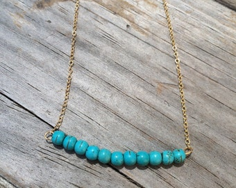 Delicate Turquoise Necklace, Turquoise Bar Necklace, 14k gold necklace, Turquoise Gold Necklace, Smooth Beaded Turquoise Necklace