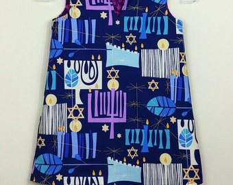 """Size 5 - FULLY REVERSIBLE - """"Cassie Dress"""" -  Hanukkah -  Happiness / Woodland Bliss"""
