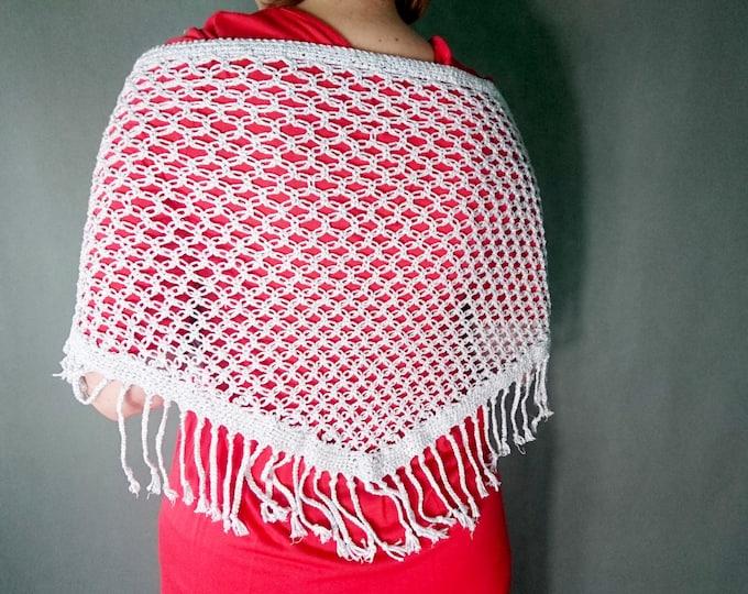 Wedding shawl with fringes, crochet shawl, silver scarf, silver shawl, solomon scarf,lace shawl, shawl wrap, winter wedding