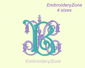 Double antique monograms from old book B & K.Embroidery design. BK KB. 2 monograms B and K intertwined.4 sizes.Hoop 4x4 5x7 6x10 No alphabet