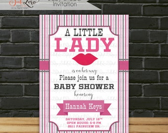 Baby Shower Invitation, Baby Girl Shower Invitation, A Little Lady Is on Her Way Shower Invitation, Little Lady Lips Baby Shower Invite 5x7