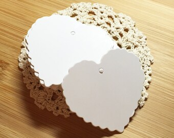 White Scallop Heart Blank Tags (50 pcs) Favor Tags Swing Tags Card Blanks C0097