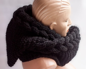 Hooded Scarf. Long Scarf. Wool Scarf. Hood, Long scarf hooded, Chunky scarf, Wool cowl, LoveKnittings