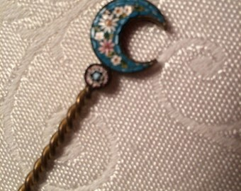 Vintage Italian Brass Spoon with Micro-Mosaic Tip Unusual Item