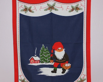 Cute vintage retro Christmas Parade Towel / Tapestry with Santa. Made by Stildukar, Sweden Scandinavian