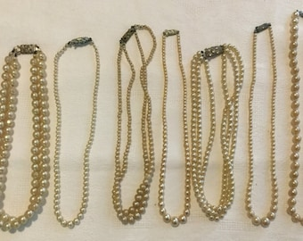 A Collection of  Artificial Pearl Necklaces