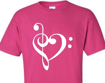 Music Treble & Bass Clef Pink Shirt with White Lettering - Great gift for music lover or musician