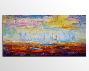 Abstract Painting, Sail Boat Art, Wall Art, Abstract Art, Original Painting, Large Painting, Large Painting, Canvas Art, Landscape Painting