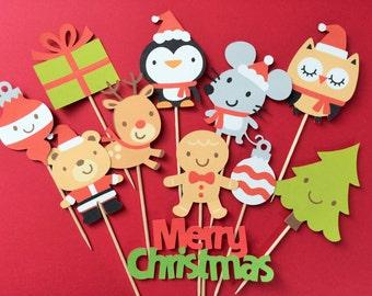 Christmas cupcake toppers, Santa cupcake toppers, gingerbread man cupcake toppers, penguin toppers, Santa hat cupcake toppers