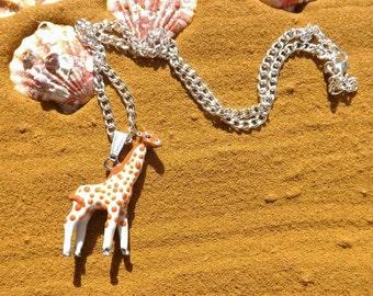 Adorable giraffe pendant, enamel giraffe pendant, animal necklace