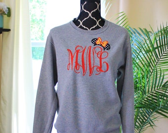 Disney Monogrammed Sweatshirt, Minnie Mouse Personalized Shirt, Minnie Ears Sweater, Large Monogram