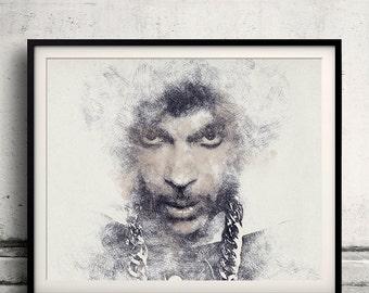 Prince portrait 03 in pen & watercolor - Fine Art Print Glicee Poster Gift Illustration Artist Poster - SKU 2131