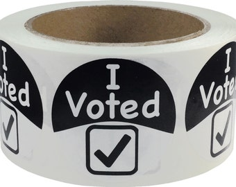 "I Voted Stickers - 500 Apparel Safe Adhesive Labels - 2"" Inches Round"