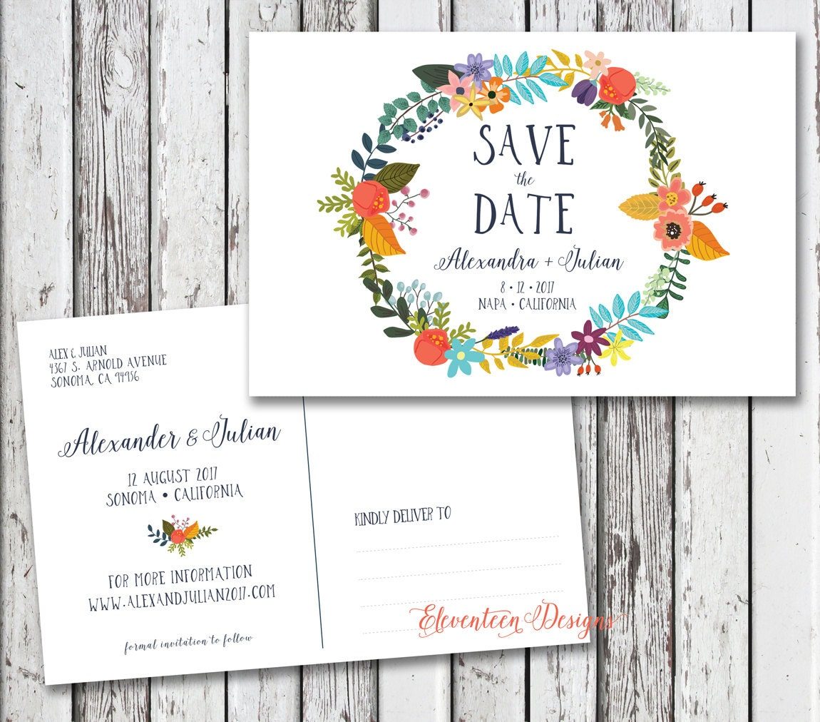 save the date card printable save the date by corallanepaper