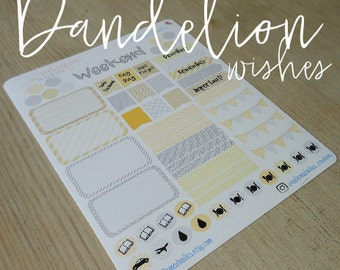 Yellow and Grey Planner Stickers - 'Dandelion Wishes'